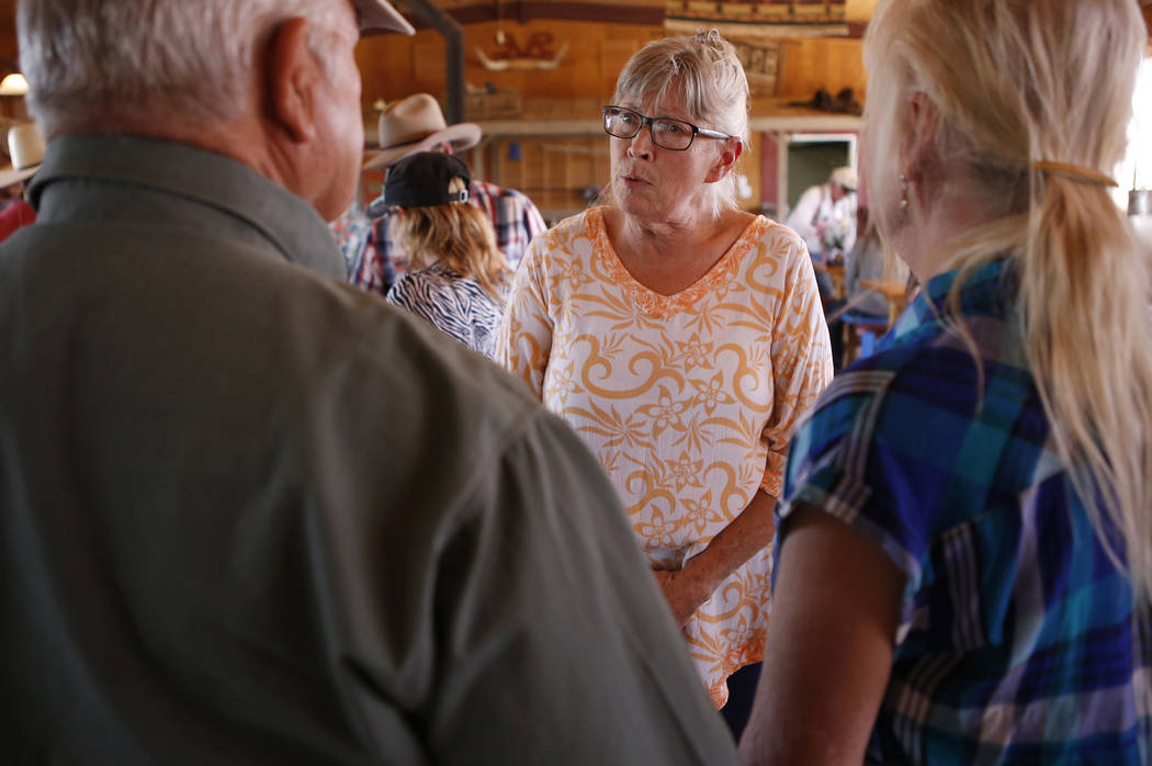 Goodsprings Justice of the Peace Dawn Haviland speaks to supporters at Sandy Valley ranch on Saturday, April 22, 2017, in Sandy Valley, California. Christian K. Lee Las Vegas Review-Journal @chris ...