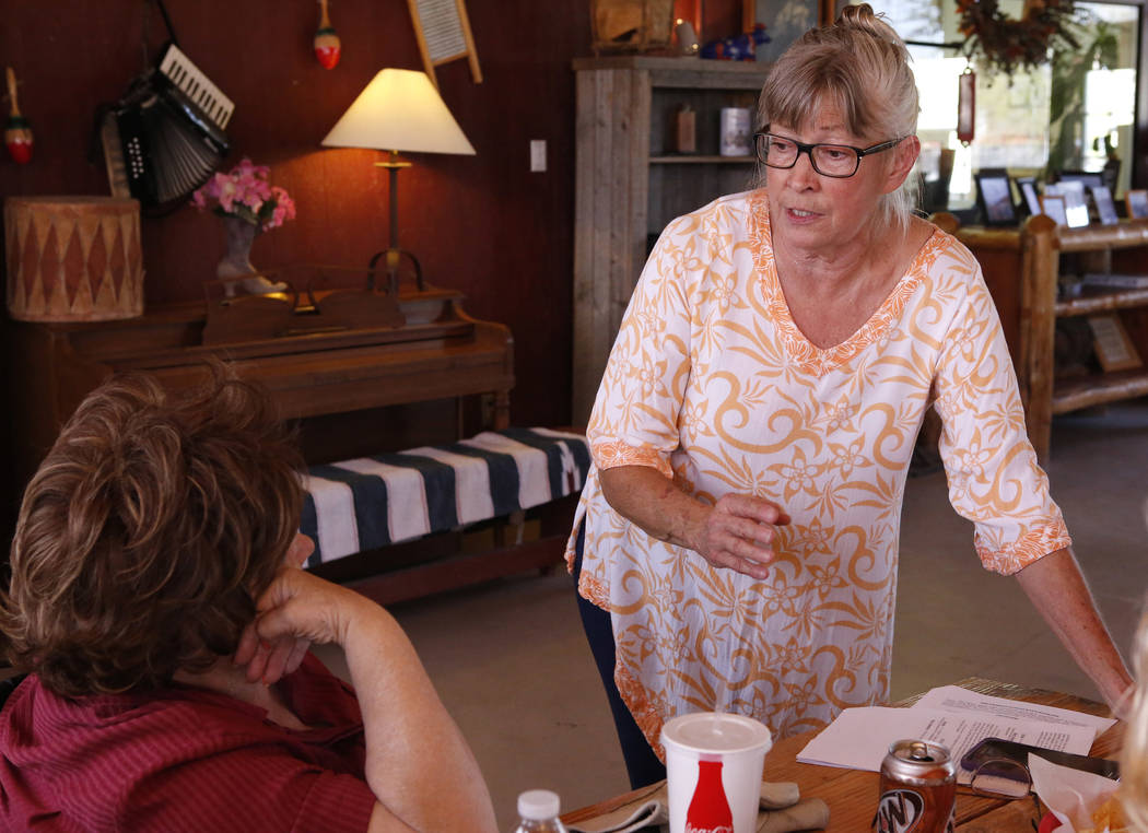Goodsprings Justice of the Peace Dawn Haviland speaks to a supporter at Sandy Valley ranch on Saturday, April 22, 2017, in Sandy Valley, California. Christian K. Lee Las Vegas Review-Journal @chri ...