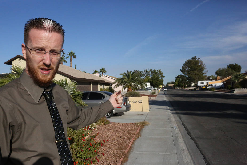 On Monday, Oct. 16, 2017, Justin Pearson, who is a concealed carry weapons permit holder and helped thwart a child kidnapping, explains how a kidnapper raced down his street in Las Vegas. Michael  ...