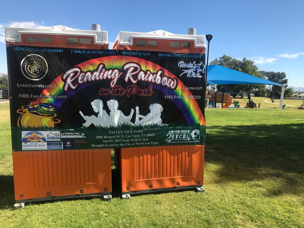 A promotion sign is displayed on Oct. 7, 2017 at the Reading Rainbow event at Valley View Park, 2000 Bennett Street. (Kailyn Brown/View) @KailynHype