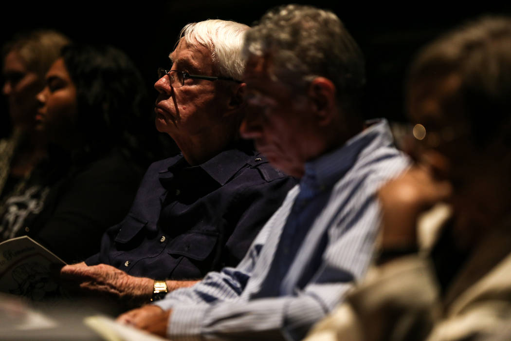 Dennis Ortwein of Las Vegas, 85, listens to a hearing by the building committee to vote on a bid to design the Legacy Project at the Las Vegas Academy in Las Vegas, Thursday, Oct. 12, 2017. Joel A ...