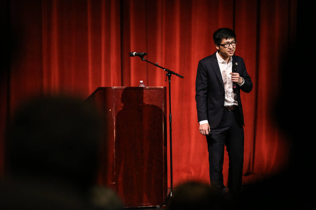 Architect Anthony Yue of Simpson Coulter Studio presents during a hearing by the building committee to vote on a bid to design the Legacy Project at the Las Vegas Academy in Las Vegas, Thursday, O ...