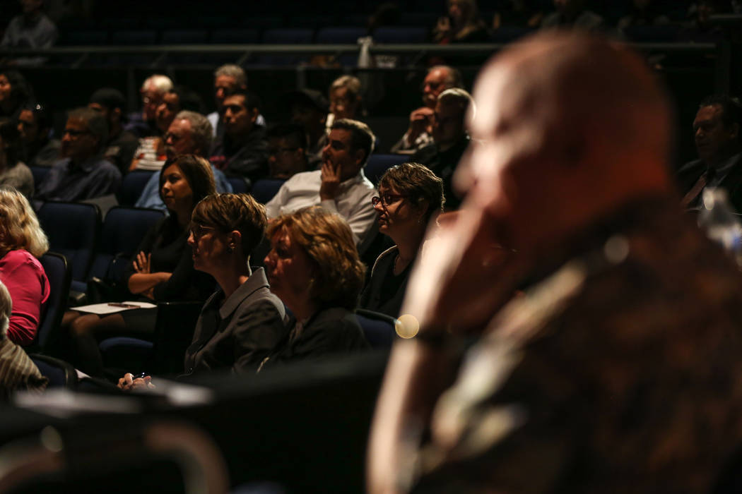 People listen during a hearing by the building committee to vote on a bid to design the Legacy Project at the Las Vegas Academy in Las Vegas, Thursday, Oct. 12, 2017. Joel Angel Juarez Las Vegas R ...