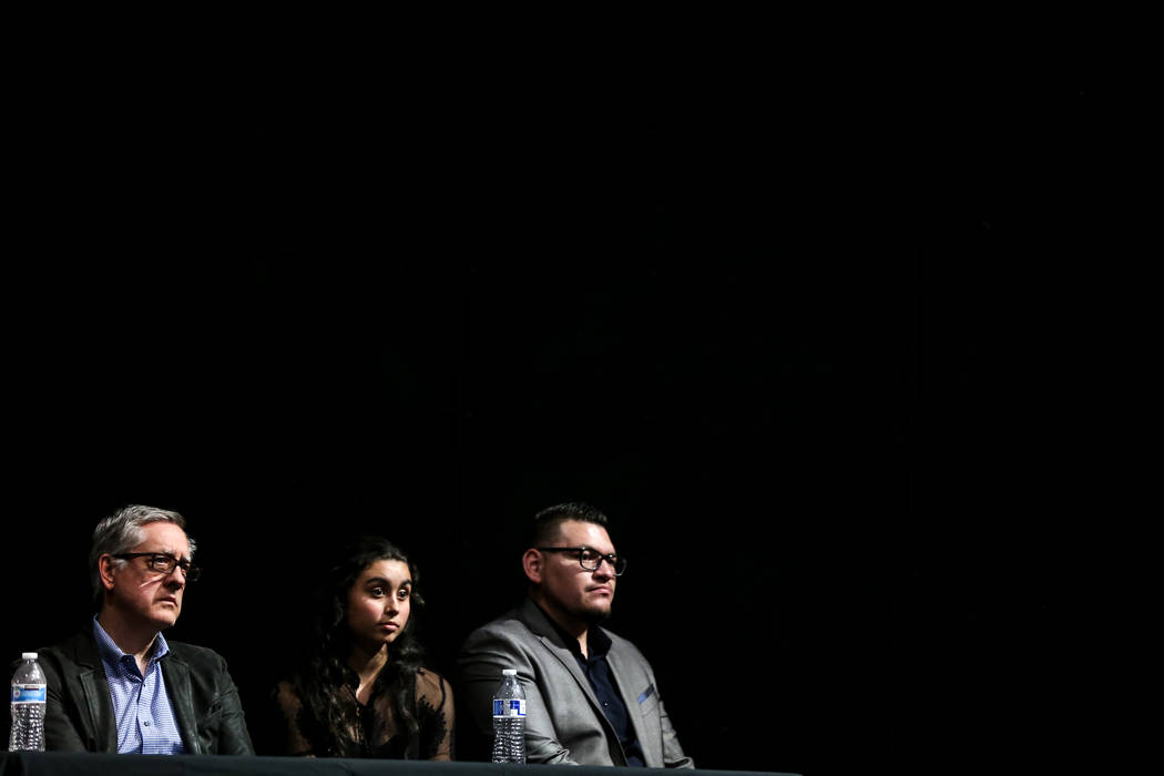 TSK CEO Windom Kimsey, left, Las Vegas Academy senior Ashley Fitzpatrick, center, and architect Jeff Sarmiento, right, representing Tate Snyder Kimsey Architects answer questions from the audience ...