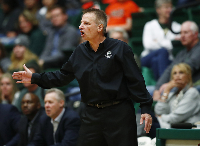Colorado State coach Larry Eustachy gestures to his team during the second half of an NCAA college basketball game against UNLV on Wednesday, Dec. 28, 2016, in Fort Collins, Colo. Colorado State w ...