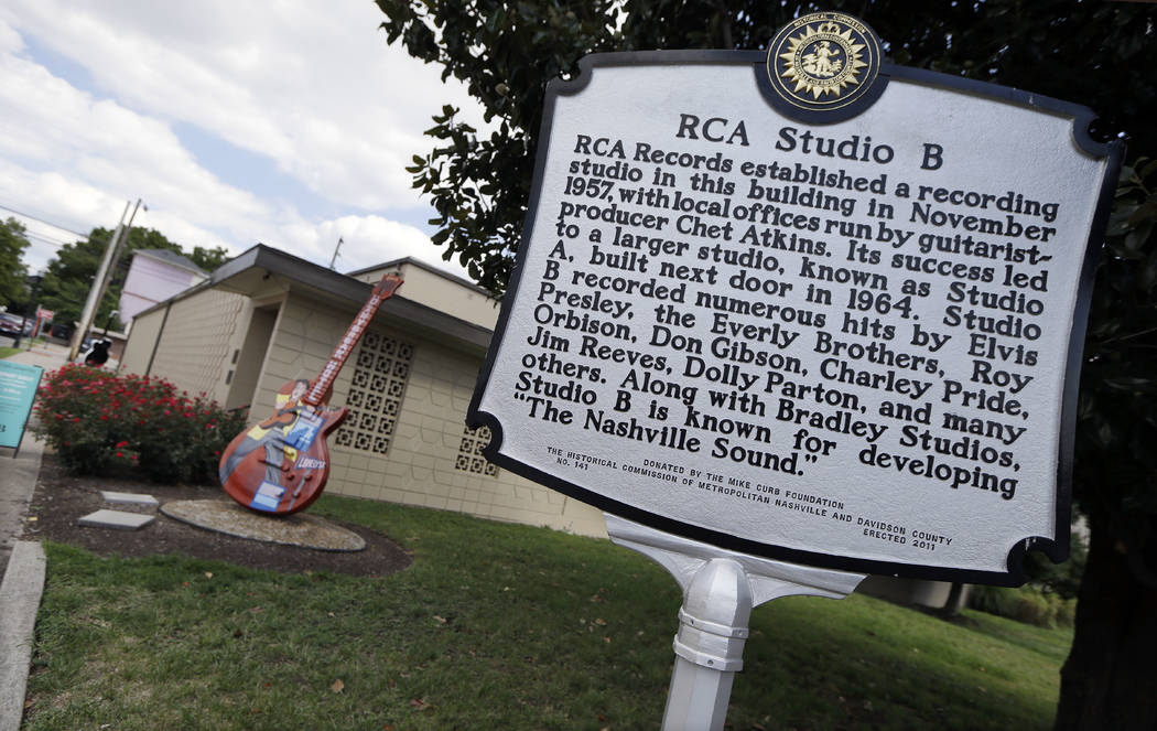 A historic marker stands outside in RCA Studio B on Aug. 8, 2014 in Nashville, Tenn. With development putting a squeeze on Nashville's famous Music Row, some in the music industry say its time to  ...
