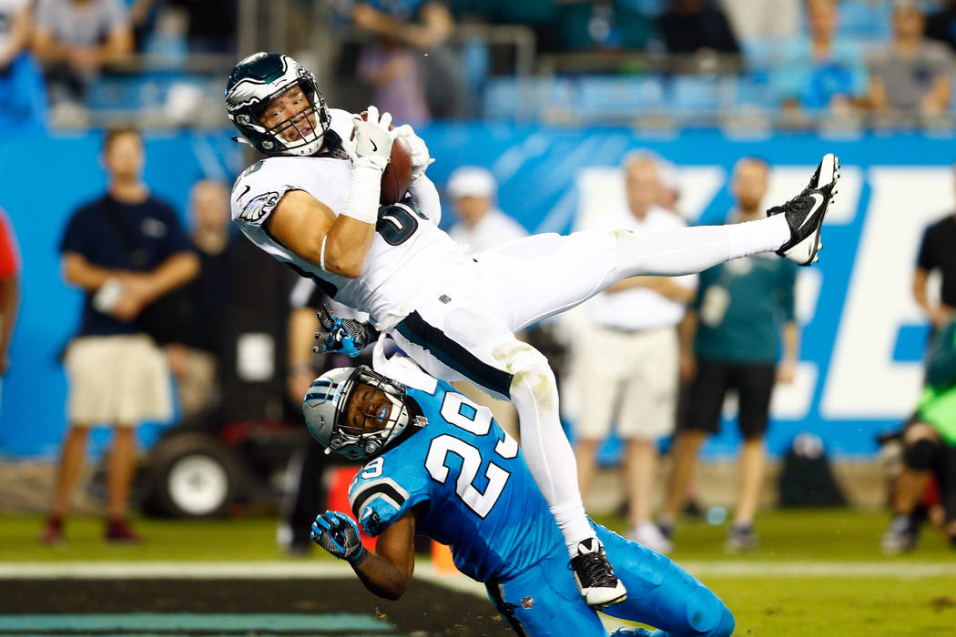 Oct 12, 2017; Charlotte, NC, USA; Philadelphia Eagles tight end Zach Ertz (86) catches a touchdown pass over Carolina Panthers strong safety Mike Adams (29) in the third quarter at Bank of America ...