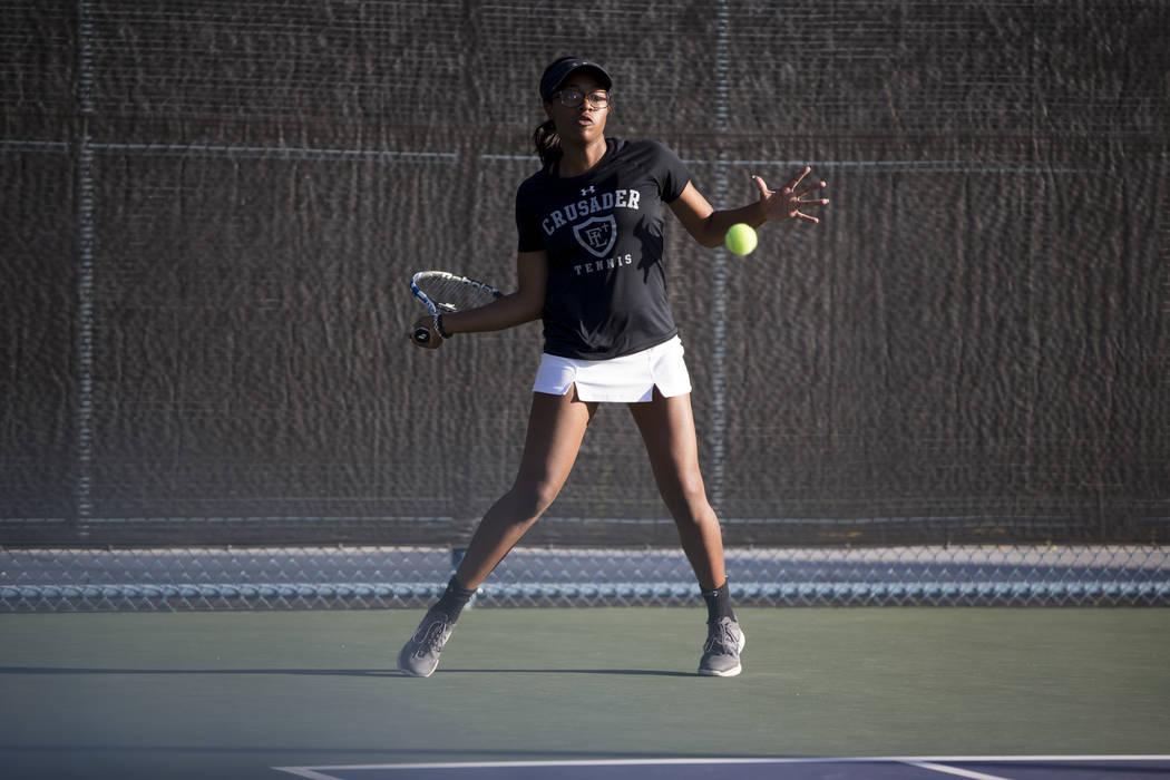 Faith Lutheran's Jade Mayweather during the girl's singles Sunset Regional championship at the Darling Tennis Center in Las Vegas, Saturday, Oct. 14, 2017. Erik Verduzco Las Vegas Review-Journal @ ...