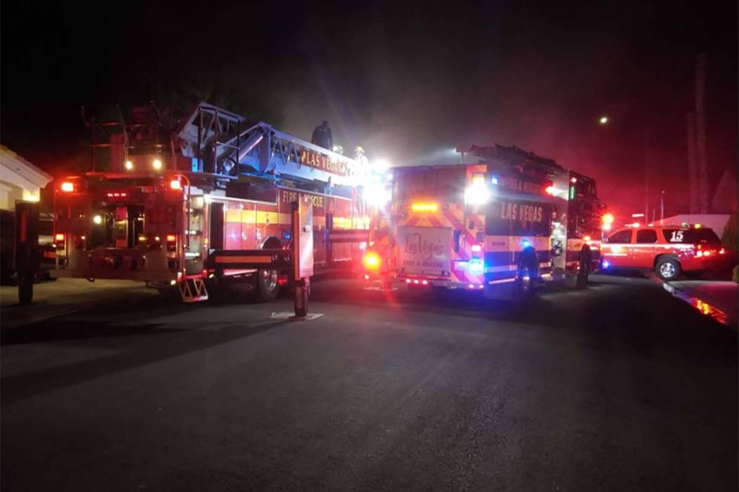 No one was injured in an early morning fire at 5717 Silver Belle St., according to Las Vegas Fire Department spokesman Tim Szymanski. (Max Michor/Las Vegas Review-Journal)