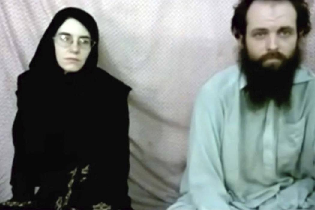 This still image made from a 2013 video released by the Coleman family shows Caitlan Coleman and her husband, Canadian Joshua Boyle in a militant video given to the family. The American woman, her ...