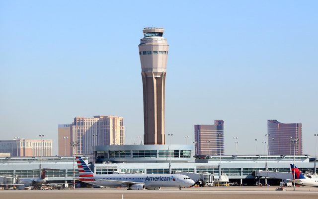 The air traffic control tower at McCarran airport. Bizuayehu Tesfaye/Las Vegas Review-Journal Follow @bizutesfaye