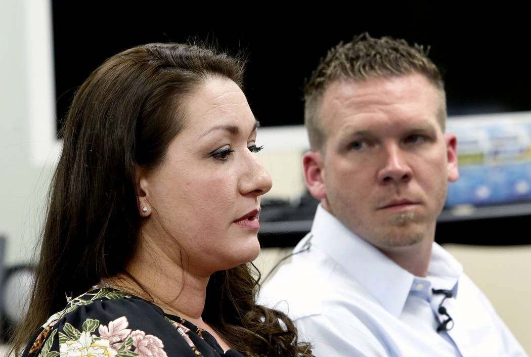 Las Vegas Tower air traffic controller Christina Stewart speaks as Anthony Borgert looks on as they speak to the media about what they experienced during the Las Vegas mass shooting, Thursday, Oct ...