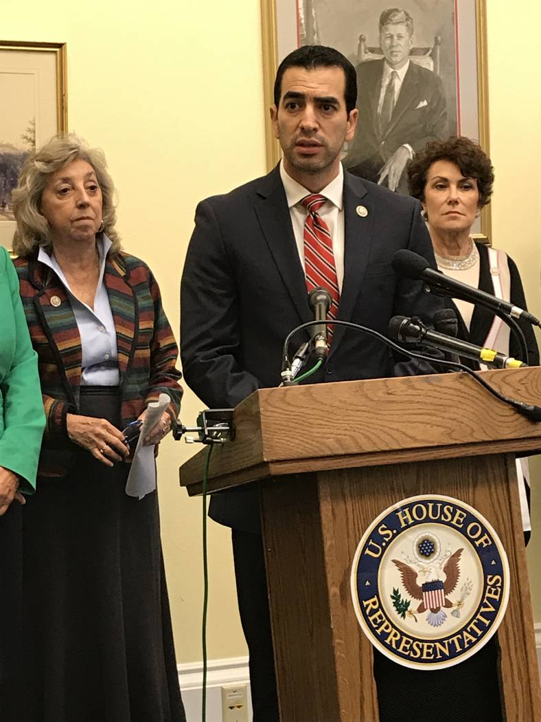 Nevada Democrats Dina Titus, from left, Ruben Kihuen and Jacky Rosen speak out against gun violence during a Capitol Hill news conference Thursday, Aug. 12, 2017, to unveil a bill that would limit ...