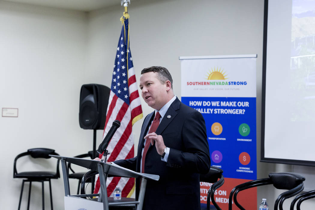 Chairman of the Public Utilities Commission Joe Reynolds speaks during a conversation about electric vehicles in Southern Nevada held by the Regional Transportation Commission of Southern Nevada a ...