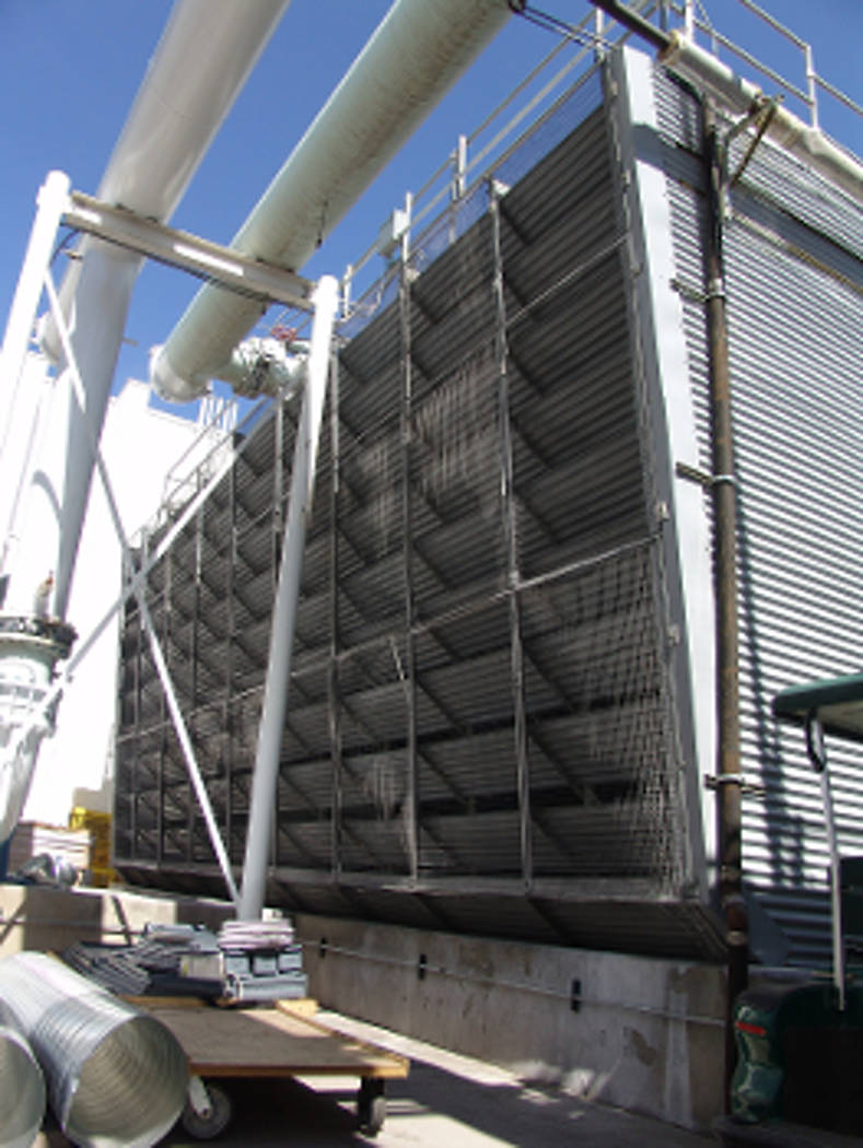 Cooling towers, such as this one located on a Strip resort property, are effectively large air conditioning units. (Courtesy of the Southern Nevada Water Authority)