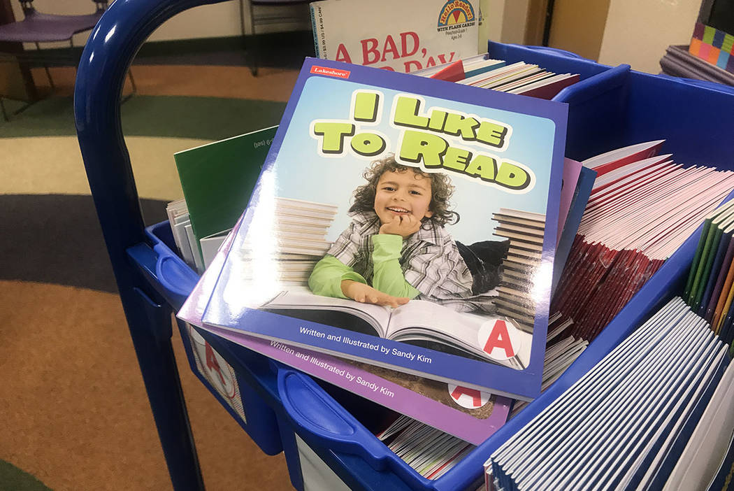 Books are seen at Aliante library in Las Vegas (Kailyn Brown/Las Vegas Review-Journal)