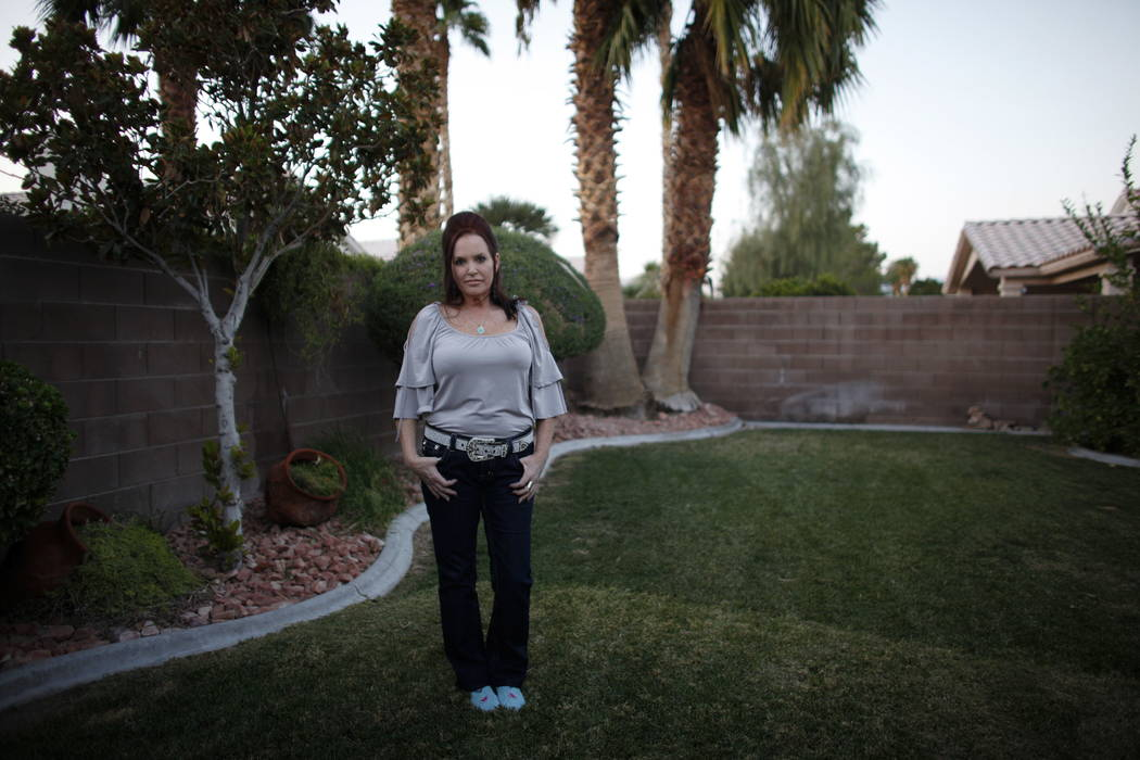 Kimbur Presmyk at her home in Las Vegas, Thursday, Oct. 12, 2017. Presmyk attended the Route 91 Harvest Festival when the mass shooting occurred. She consoled concert goers around her while her bo ...