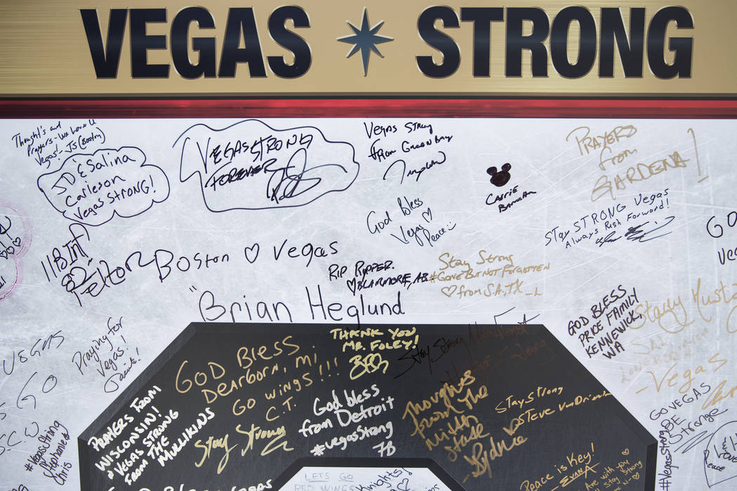 "Messages written on one of six boards spelling out  ""Strong"" in the NHL Centennial Fan Arena at the Fremont Street Experience in Las Vegas, Saturday, Oct. 14, 2017. Erik Verduzco ..."