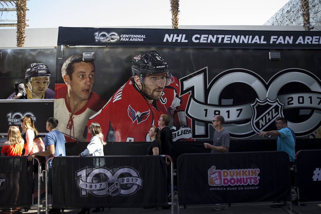 Fans lineup to enter the Mobile NHL Museum in the NHL Centennial Fan Arena at the Fremont Street Experience in Las Vegas, Saturday, Oct. 14, 2017. Erik Verduzco Las Vegas Review-Journal @Erik_Verduzco