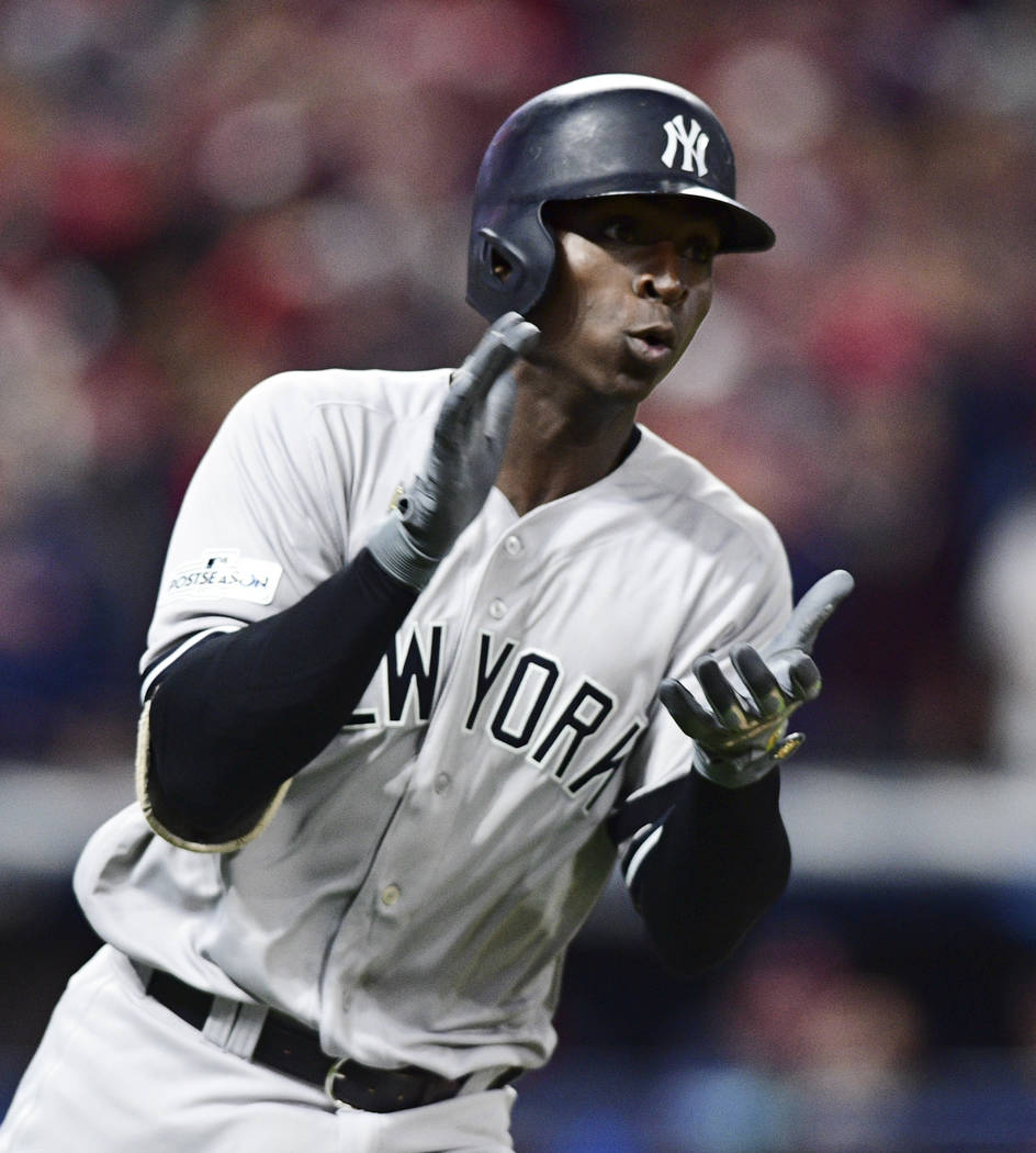 New York Yankees' Didi Gregorius runs the bases after hitting a solo home run of Cleveland Indians starting pitcher Corey Kluber in the first inning of Game 5 of baseball's American League Divisio ...