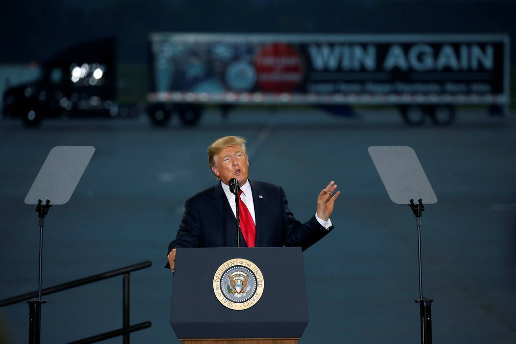 U.S. President Donald Trump speaks about tax reform in Harrisburg, Pennsylvania, U.S., October 11, 2017.   Joshua Roberts/Reuters
