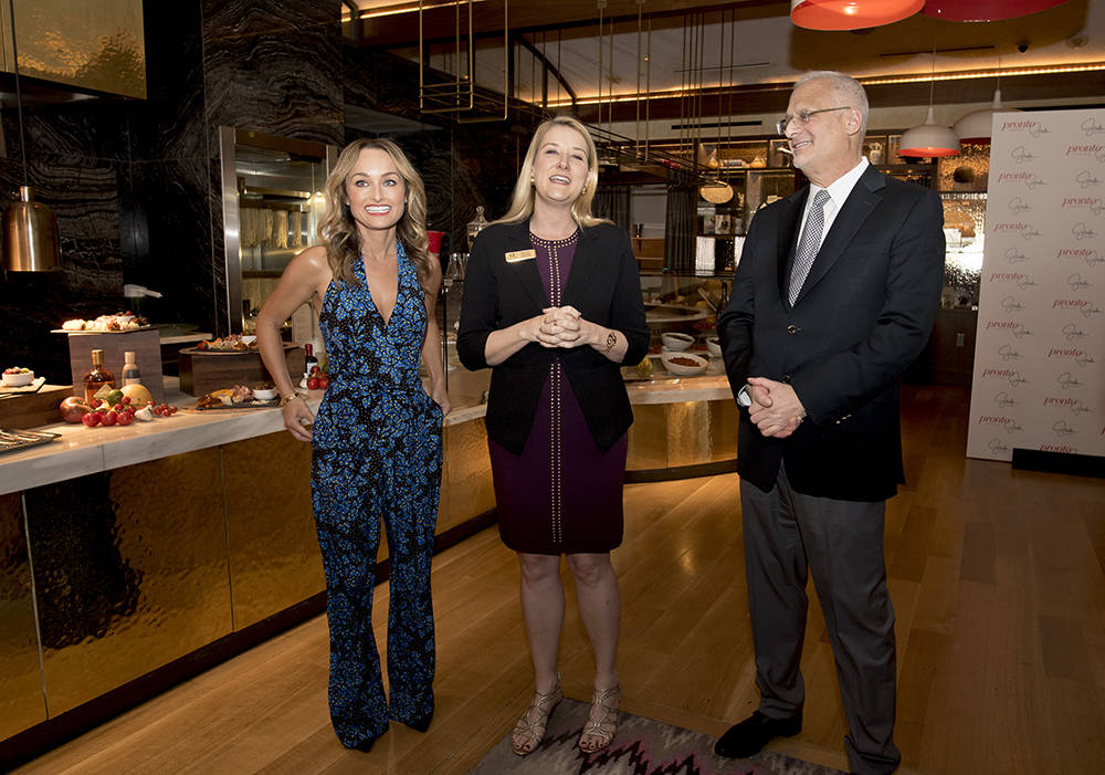 From left, celebrity chef Giada De Laurentiis; Eileen Moore, president of The Cromwell, Linq and Flamingo for Caesars Entertainment; and Gary Selesner, president of Caesars Palace,   announce the  ...