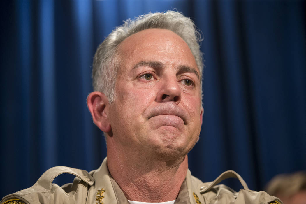 Clark County Sheriff Joe Lombardo discusses the mass shooting during a press conference at the Las Vegas Metropolitan Police Department headquarters in Las Vegas, Wednesday, Oct. 4, 2017. (Erik Ve ...