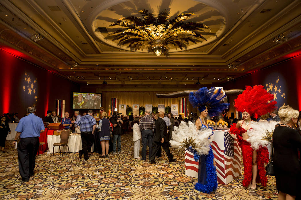 "Guests partake in the MGM Resorts International annual ""Salute to the Troops"" event for ""wounded warriors,"" at The Mirage hotel-casino in Las Vegas, Oct. 12, 2017. Elizabeth Brumley Las Vegas Revi ..."
