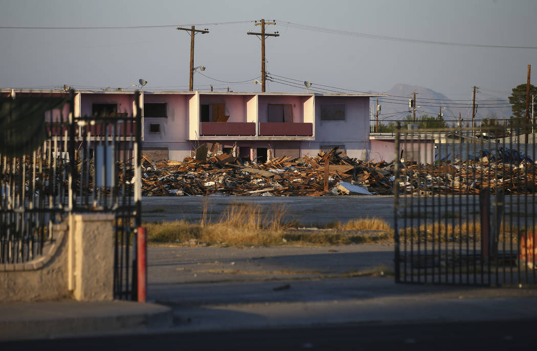 The site of the historic Moulin Rouge after a fire gutted a building the morning of Oct. 5 in Las Vegas on Thursday, Oct. 12, 2017. Chase Stevens Las Vegas Review-Journal @csstevensphoto