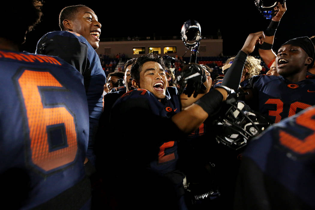 Bishop Gorman players celebrate after their 34-7 win over De La Salle at Bishop Gorman High School on Saturday, Sept. 16, 2017, in Las Vegas.   Bridget Bennett Las Vegas Review-Journal @bridgetkbe ...