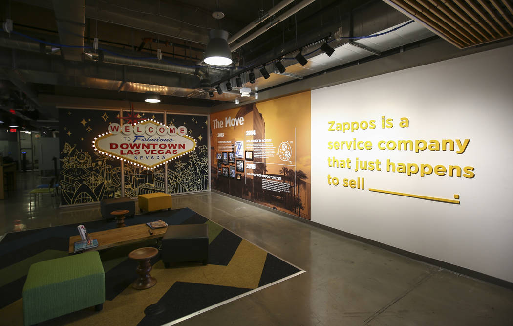 The lobby area at Zappos headquarters in downtown Las Vegas on Thursday, June 1, 2017. Chase Stevens Las Vegas Review-Journal @csstevensphoto