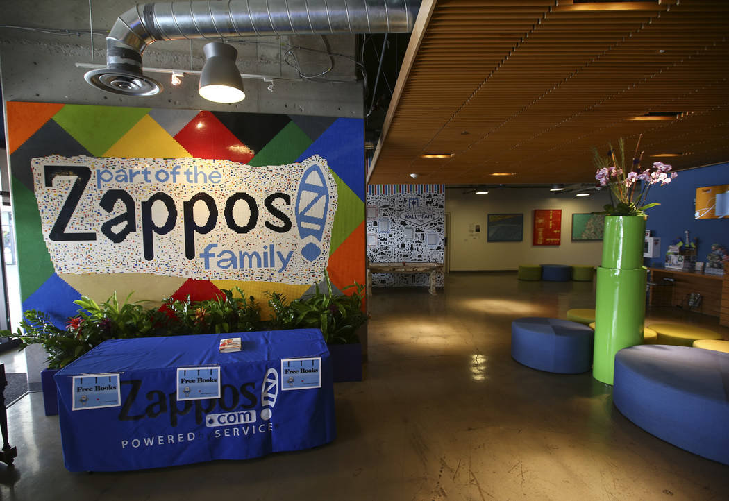 The lobby area welcomes visitors at Zappos headquarters in downtown Las Vegas on Thursday, June 1, 2017. Chase Stevens Las Vegas Review-Journal @csstevensphoto