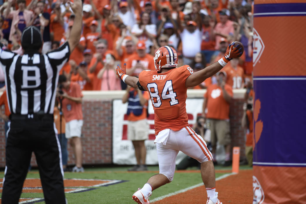 Clemson tight end Cannon Smith (84) scores a touchdown against Wake Forest during the second of an NCAA college football game, Saturday, Oct. 7, 2017, in Clemson, S.C. Clemson won 28-14. (AP Photo ...