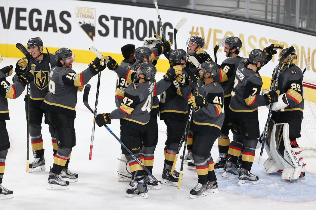 Vegas Golden Knights celebrate their 5-2 victory against Arizona Coyotes in their NHL season home opener at T-Mobile Arena in Las Vegas, Tuesday, Oct. 10, 2017. Erik Verduzco Las Vegas Review-Jour ...