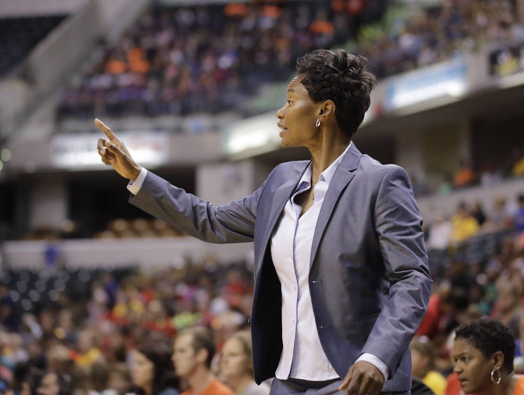 San Antonio Stars head coach Vickie Johnson calls a play during the first half of a WNBA basketball game against the Indiana Fever, Wednesday, July 12, 2017, in Indianapolis. (AP Photo/Darron Cumm ...