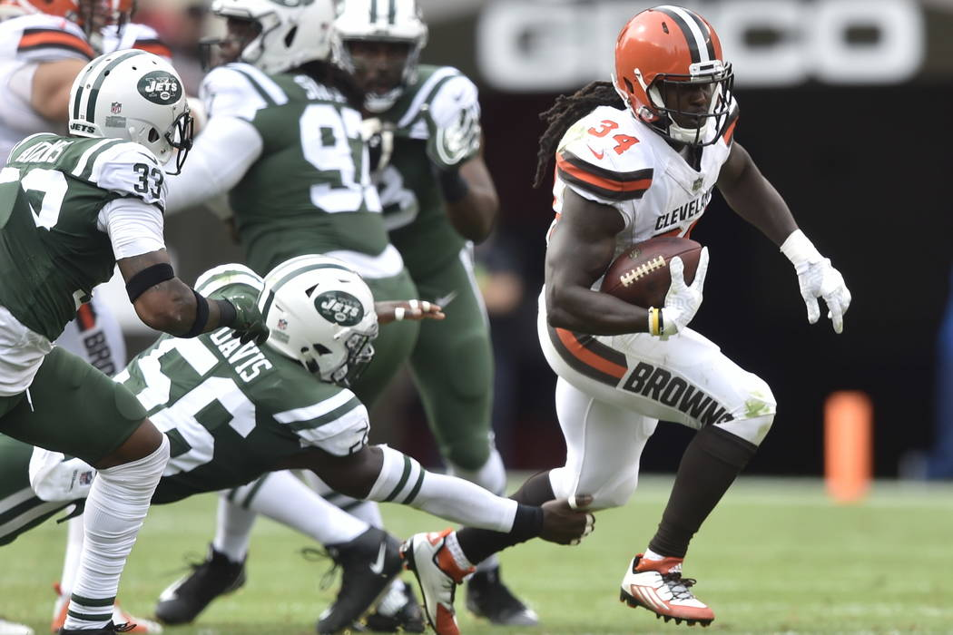 Cleveland Browns running back Isaiah Crowell (34) runs with the ball during an NFL football game against the New York Jets, Sunday, Oct. 8, 2017, in Cleveland. The Jets won 17-14. (AP Photo/David  ...