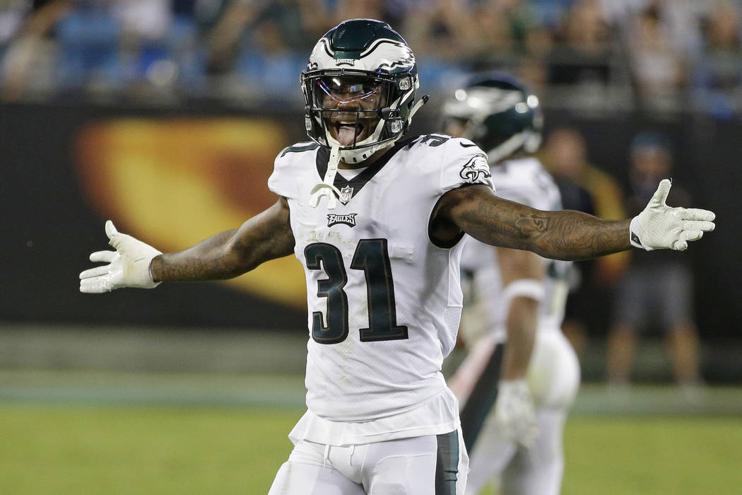 Philadelphia Eagles' Jalen Mills (31) reacts after the Eagles stopped the Carolina Panthers on fourth down late in the second half of an NFL football game in Charlotte, N.C., Thursday, Oct. 12, 20 ...