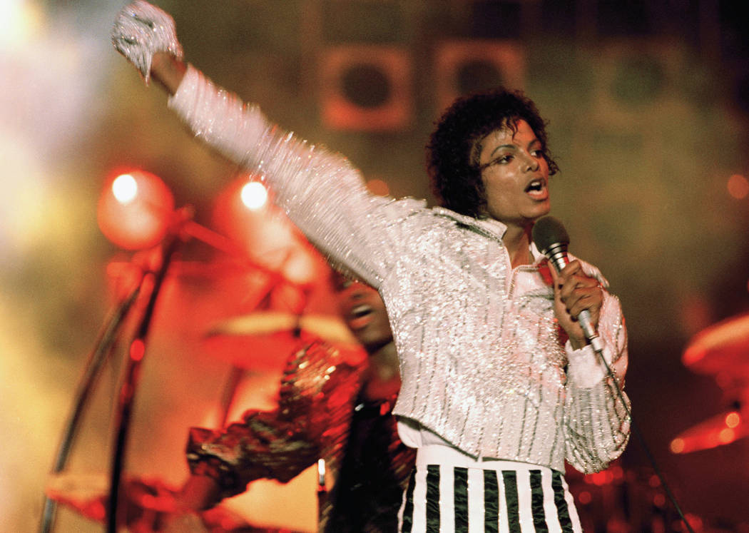 "Michael Jackson performs during the ""Victory Tour"" in July 1984. Julien's Auctions announced on Oct. 13, 2017, that a white glove Jackson wore on his ""Triumph"" tour is among several  Jackson memor ..."