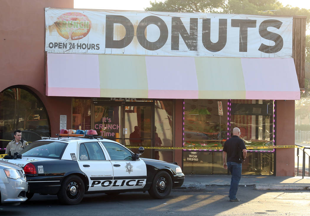 Las Vegas police are investigating a possible string of robberies that ended at Crunch Time Donuts, 1120 E. Harmon Ave., near Maryland Parkway. Friday, Oct. 13, 2017, in Las Vegas. Bizuayehu Tesfa ...
