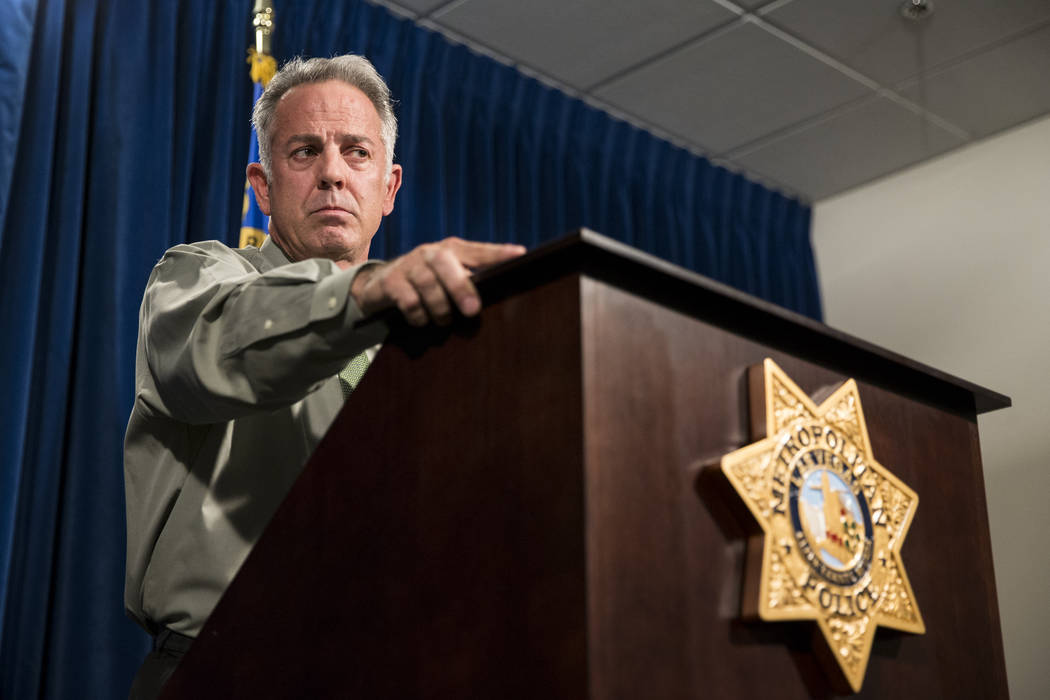 Clark County Sheriff Joe Lombardo discusses the Route 91 Harvest Festival mass shooting at the Metropolitan Police Department headquarters in Las Vegas, Monday, Oct. 9, 2017. Erik Verduzco/Las Veg ...