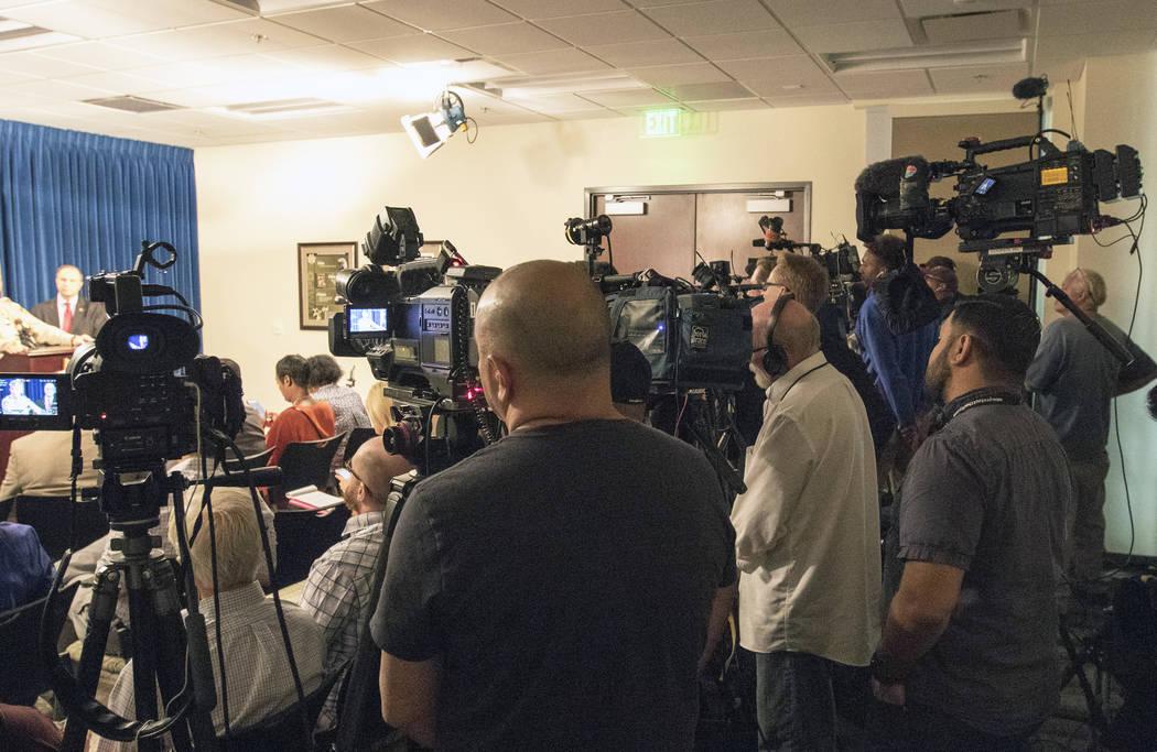 Media gathers at Sheriff Joe Lombardo's news briefing at the Metropolitan Police Department in Las Vegas, Friday, Oct. 13, 2017. Heidi Fang Las Vegas Review-Journal @HeidiFang