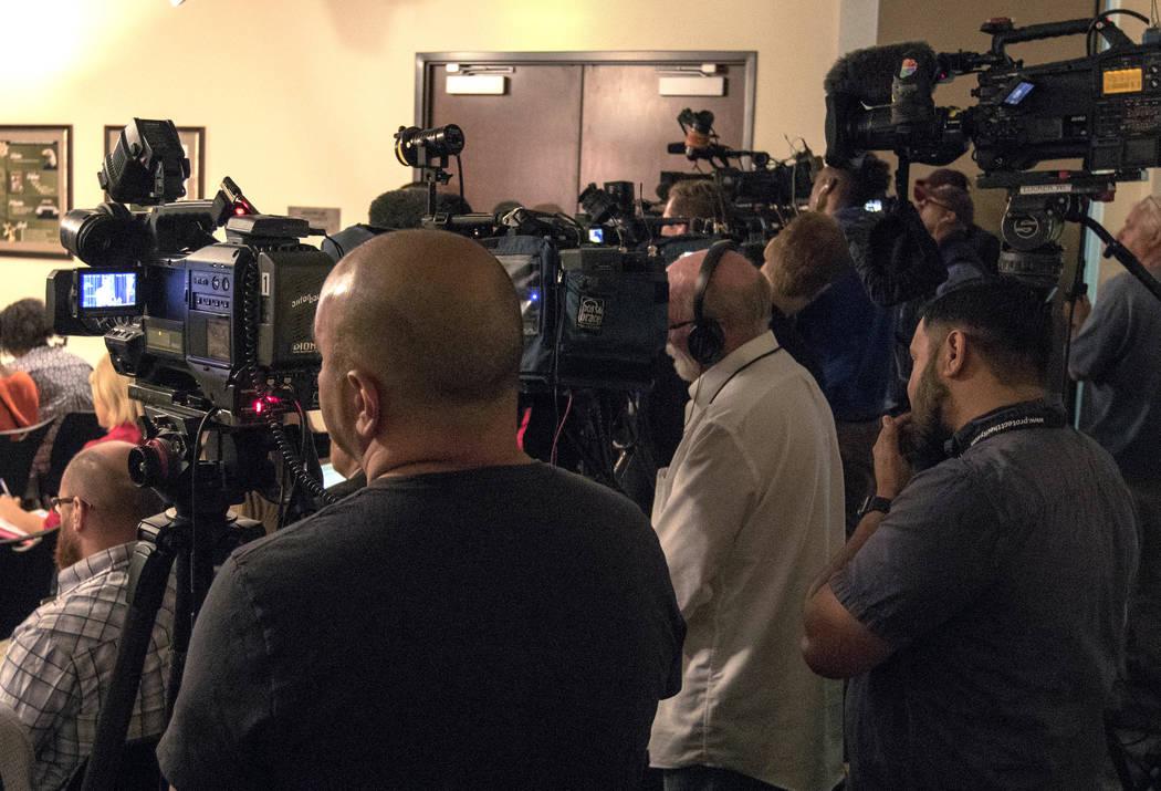 Media is assembled at Sheriff Joe Lombardo's news briefing at the Metropolitan Police Department in Las Vegas, Friday, Oct. 13, 2017. Heidi Fang Las Vegas Review-Journal @HeidiFang