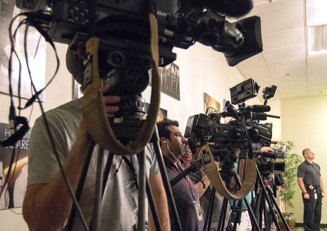 Media cameras record at Metropolitan Police Department Sheriff Joe Lombardo's news briefing in Las Vegas, Friday, Oct. 13, 2017. Heidi Fang Las Vegas Review-Journal @HeidiFang