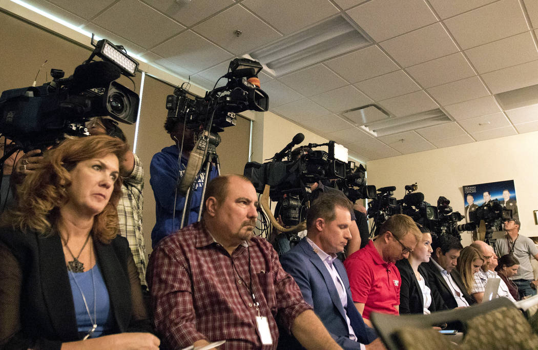 Reporters and camera operators at a Metropolitan Police Department news briefing in Las Vegas, Friday, Oct. 13, 2017. Heidi Fang Las Vegas Review-Journal @HeidiFang