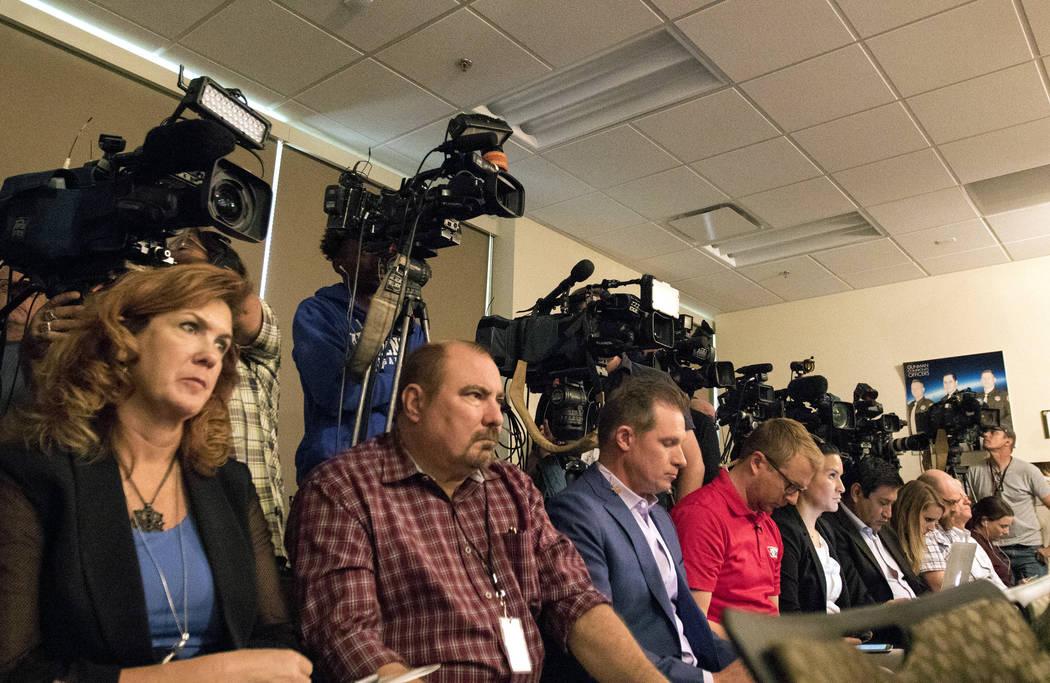 Reporters and camera operators at a Metropolitan Police Department news briefing in Las Vegas, Friday, Oct. 13, 2017. Heidi Fang Las Vegas Review-Journal @HeidiFang