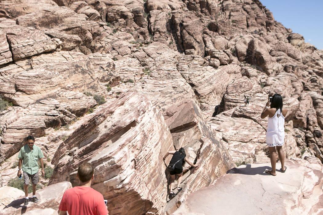 Visitors explore Red Rock Canyon National Conservation Area on Tuesday, Aug. 22, 2017, in Las Vegas. Bridget Bennett Las Vegas Review-Journal @bridgetkbennett
