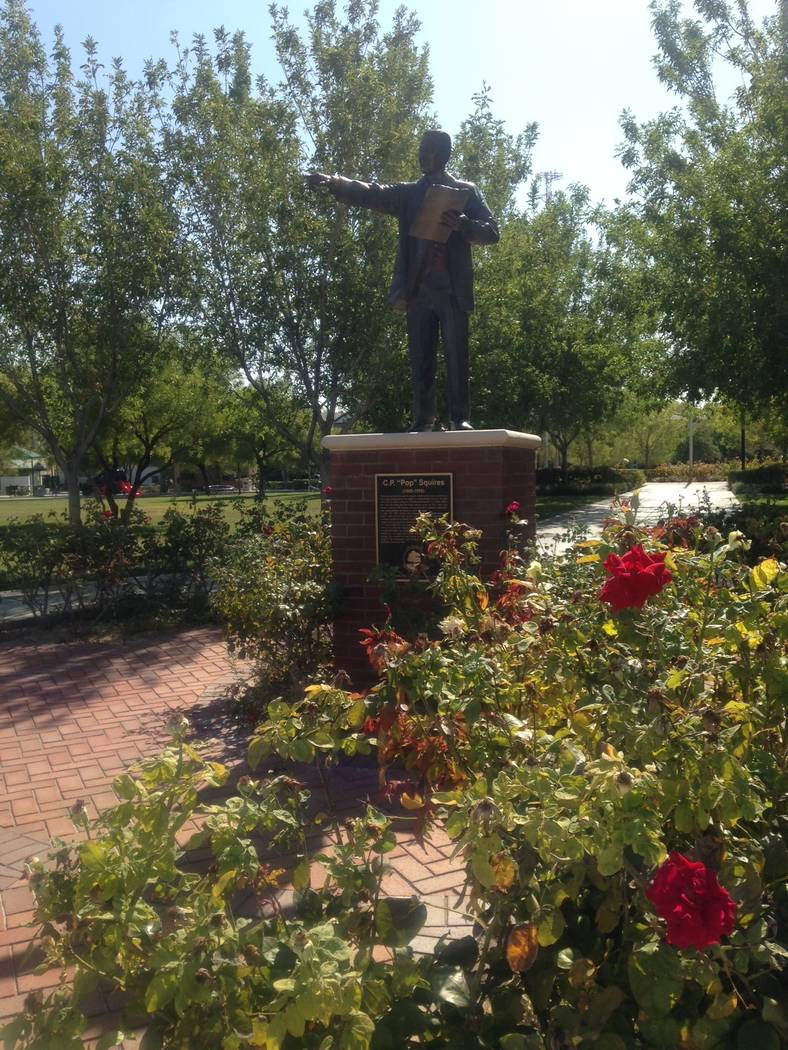"""A statue of C.P. """"Pop"""" Squires sits at the entrance to the private park in the far northwest valley, named for the early Las Vegas developer. Plans to build apartments on the site have stirred the ..."""