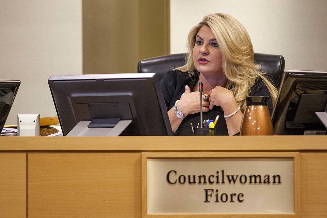 Councilwoman Michelle Fiore speaks about the Badlands golf course development at a City Council meeting at Las Vegas City Hall on Wednesday, August 2, 2017.  Patrick Connolly Las Vegas Review-Jour ...