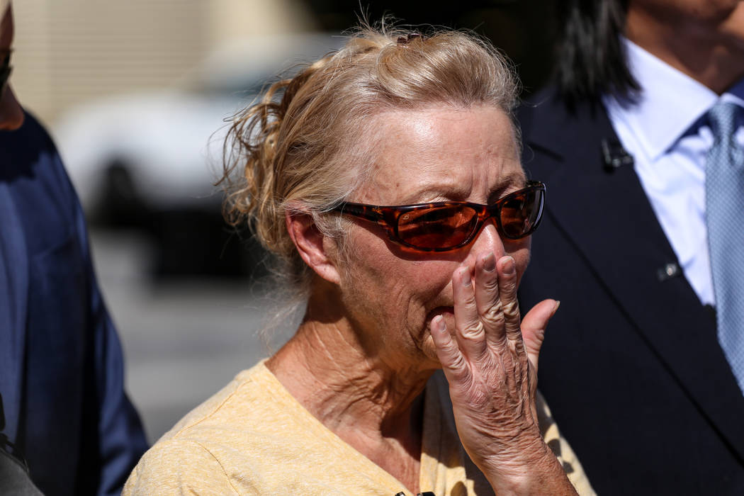 Cheryl Sheppard, mother of Rachel Sheppard, stands in front of the Clark County Regional Justice Center in Las Vegas, Friday, Oct. 13, 2017. Family of Rachel Sheppard, who was shot three times dur ...