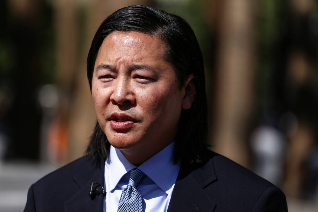 Lead attorney James Lee speaks in front of the Clark County Regional Justice Center in Las Vegas, Friday, Oct. 13, 2017. Family of Rachel Sheppard, who was shot three times during the October 1st  ...